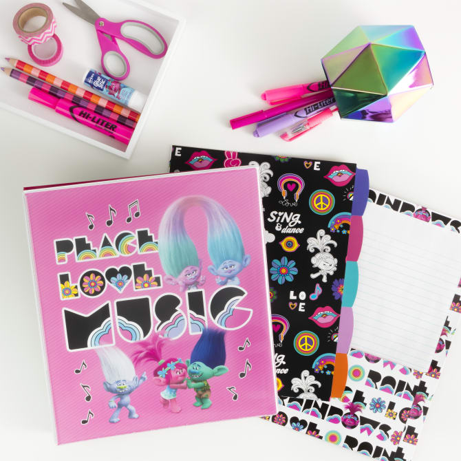 School supplies under $10 to make school more fun: Trolls peace love and music binder + folder sets from Avery (sponsor)