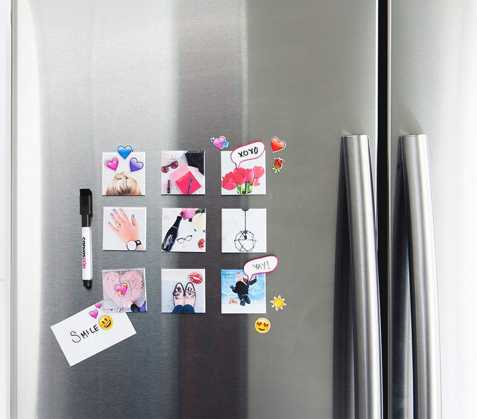 Creative ways to display kids' artwork: Turn them into a set of small magnets from Canvas Pop