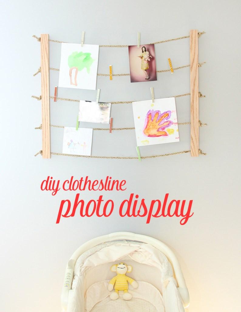 Creative ways to display kids' artwork: Clothesline photo display | Fresh Crush