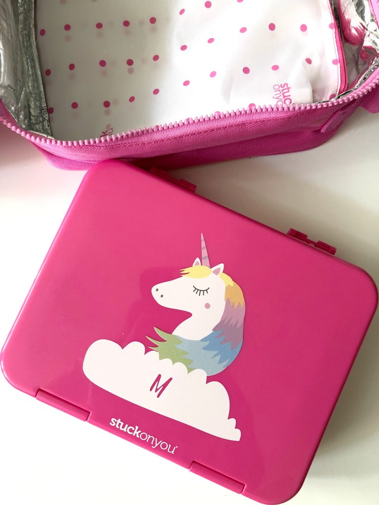 Cool personalized school supplies: Unicorn bento from Stuck on You (sponsor)