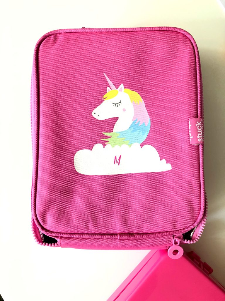 Cool personalized school supplies: Unicorn lunch bag and bento set from Stuck on You (sponsor)