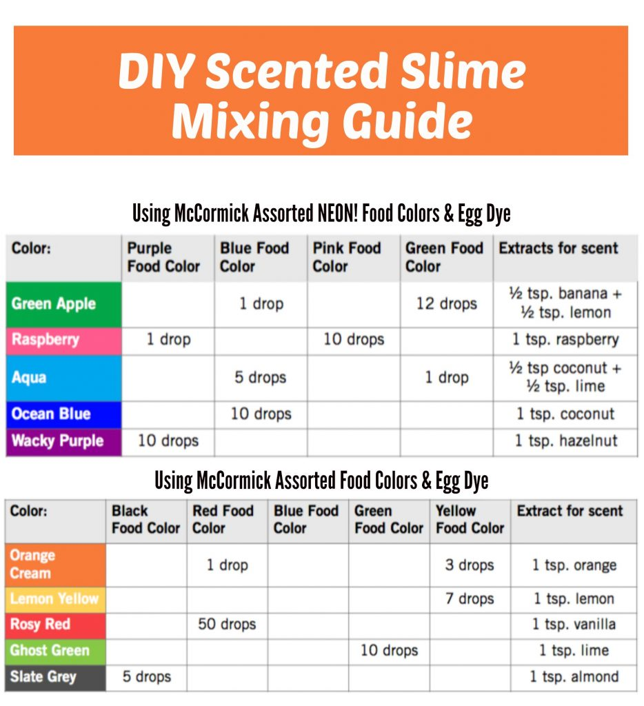 DIY Scented Slime Mixing Guide: McCormick Food Colors & Egg Dye + McCormick Extracts