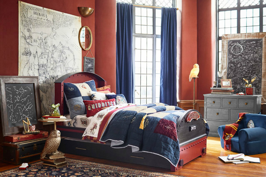 the most magical pieces of the new harry potter collection from pottery barn. Black Bedroom Furniture Sets. Home Design Ideas