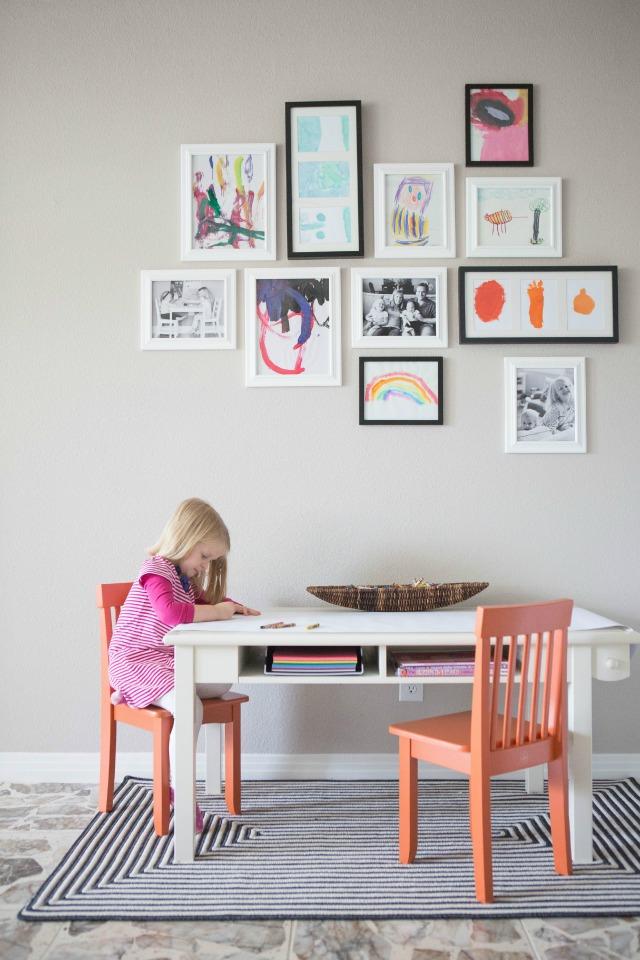Creative ways to display kids' artwork: Kids' art gallery wall | Design Improvised