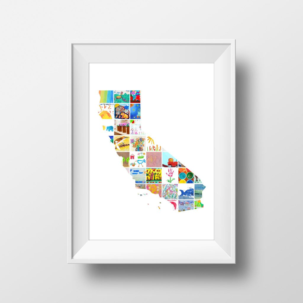 Creative ways to display kids' artwork: Itsy Artwork will turn it into your own state shape collage