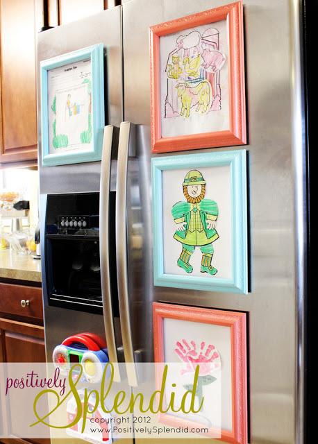 Creative ways  to display kids' artwork: DIY magnetic refrigerator art frametutorial via Positively Splendid
