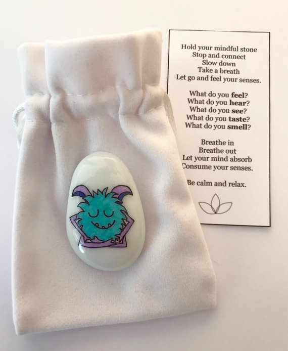 Comfort items  to pack for back-to-school anxiety: Mindfulness monster from My Story Stones