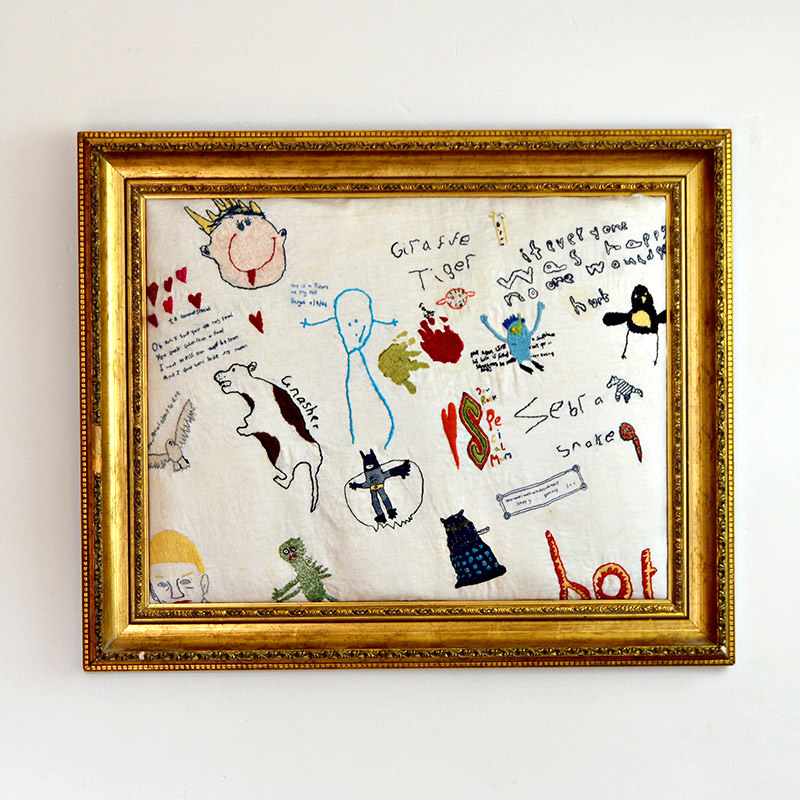 Creative ways to display kids' artwork: This extraordinary embroidered memories collage by Pillar Box Blue