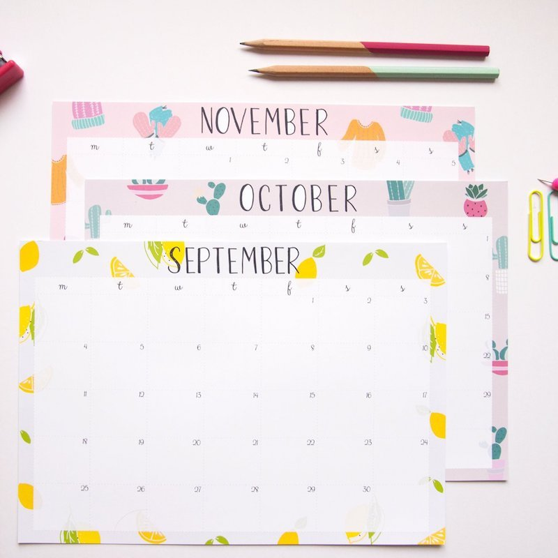 Printable academic calendars: Cute illustrated calendars at Not Only Polka Dots