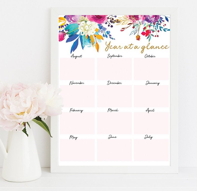 Printable academic calendars: Year-at-a-glance by Emma Love Prints