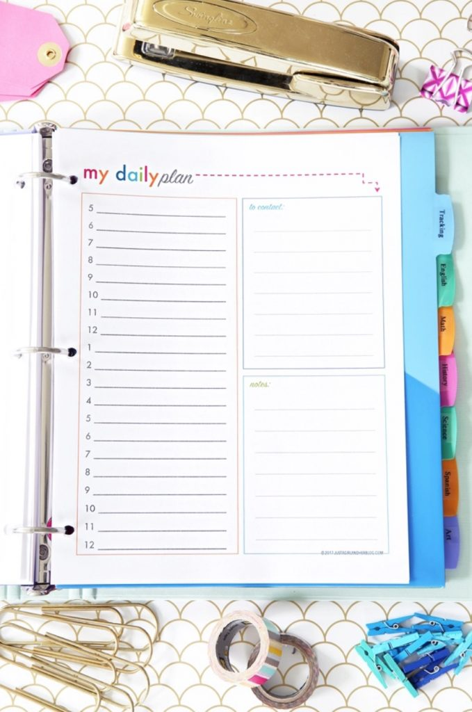 Printable academic year student planner from Just a Girl and Her Blog