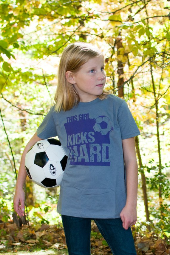 T-shirts for Strong athletic girls This Girls Kicks Hard soccer shirt from This Girl Tees on ETsy