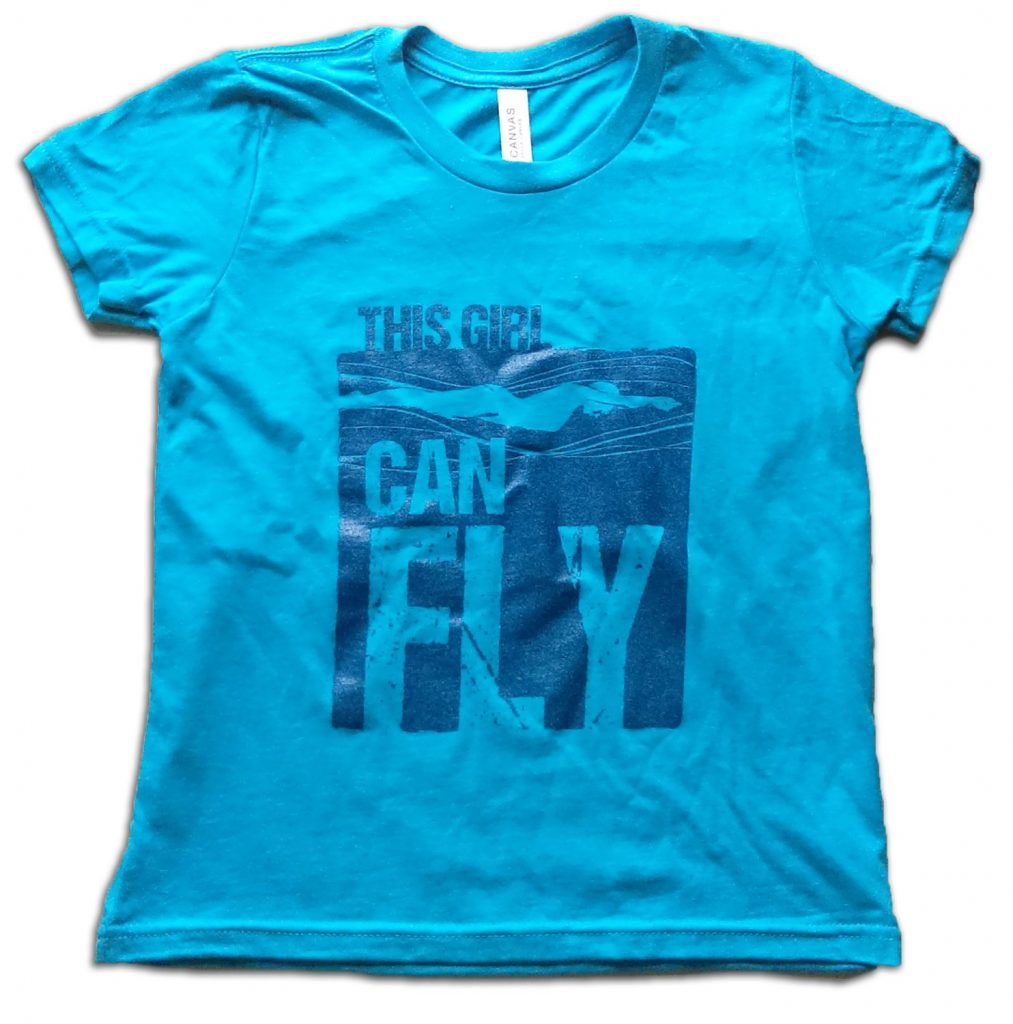 Strong athletic girls' t-shirts: This Girl Can Fly swimmers shirt