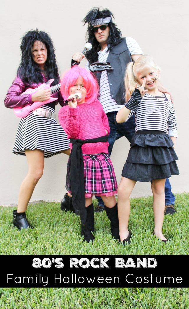 Family Halloween costume idea: 80s rock band costume at Design Improvised