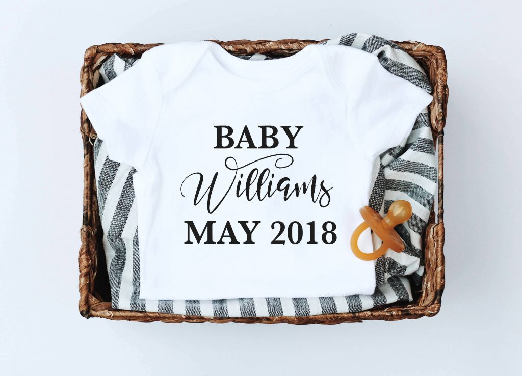 Arriving baby personalized tee from Kal & Co: Sweet baby shower gift!