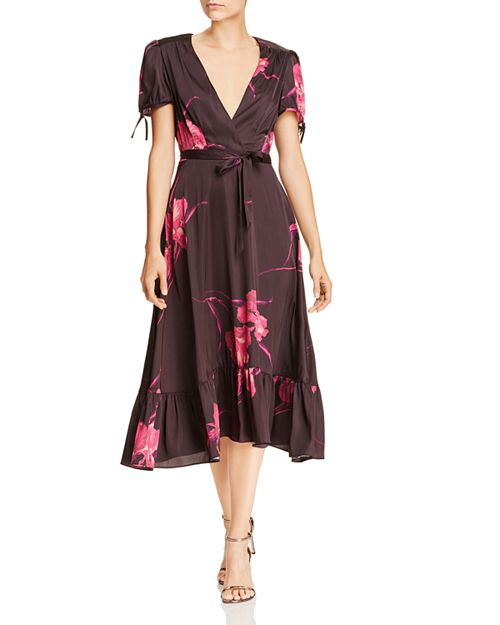 floral dresses for fall: Betsey Johnson Floral Faux Wrap Dress