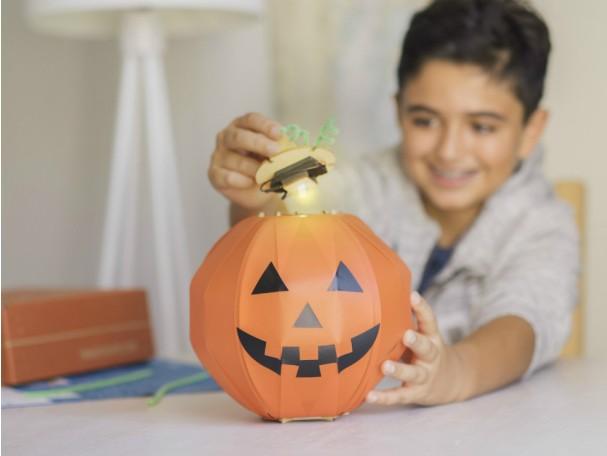 DIY glowing jack-o-lantern kit for kids with safe LED lights, from Kiwi Co