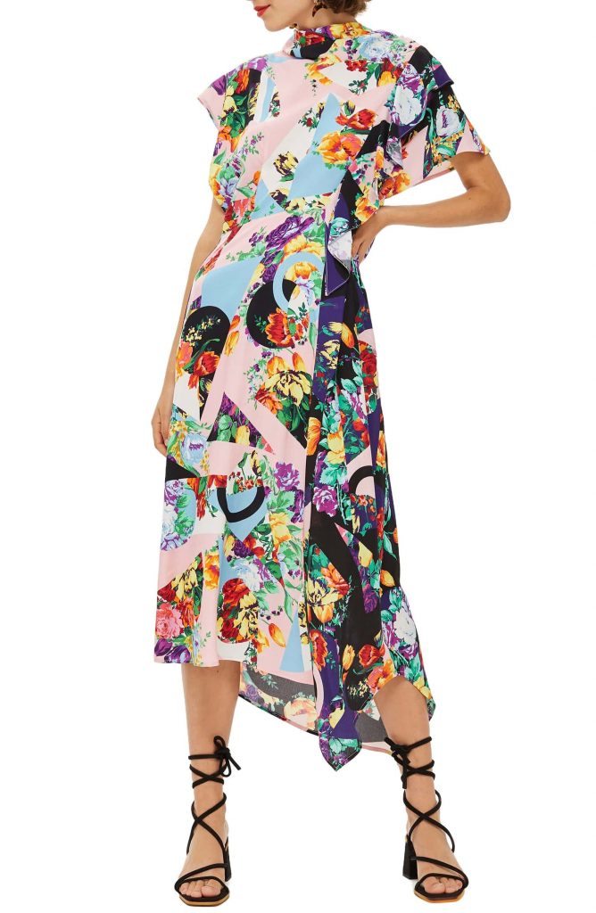 floral dresses for fall: Topshop Cowl Back Midi Dress