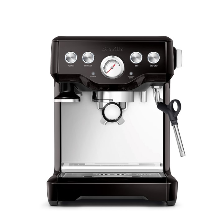 Breville Infuser Espresso Maker in silver, black, red 50% off for a limited time at William-Sonoma!