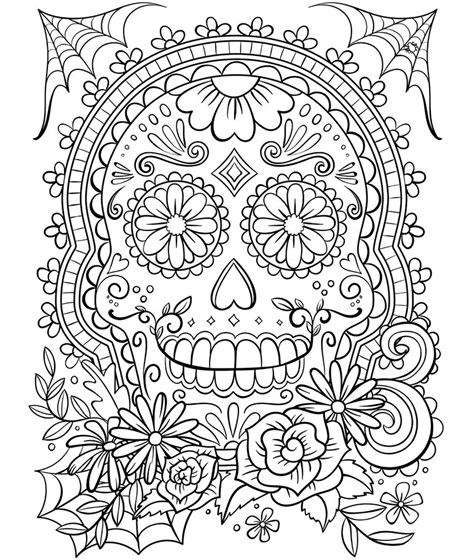 Halloween crafts for tweens and teens: download this free printable adult Day of the Dead sugar skull coloring page from Crayola