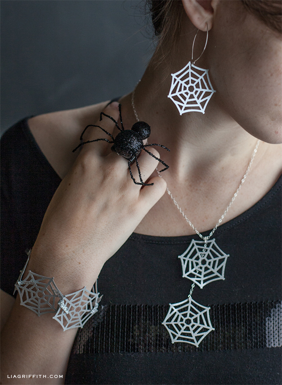 Halloween craft ideas for tweens and teens: DIY spider web jewelry tutorial at Lia Griffith