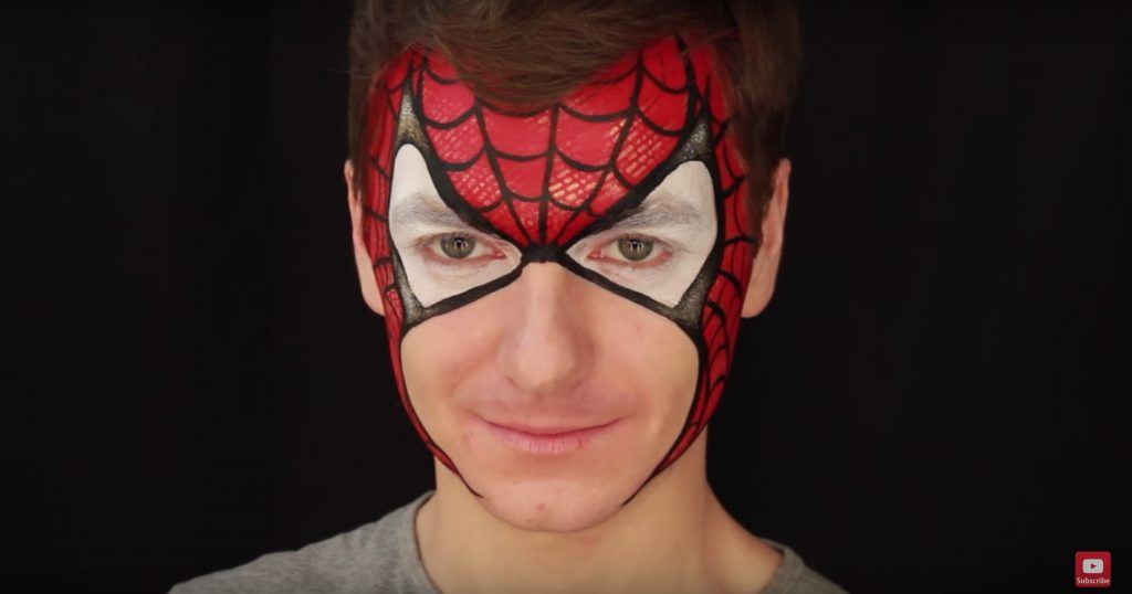 Beginner' Spider Man face paint video tutorial by International Face Painting School