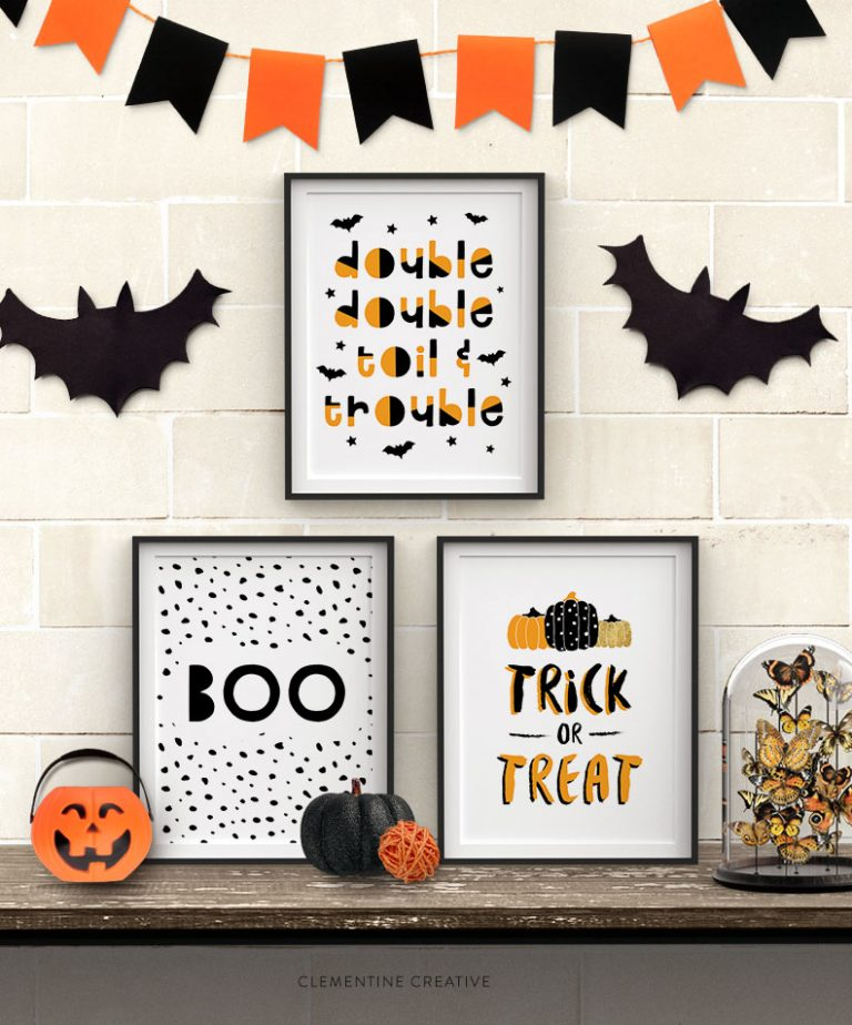 Free Halloween party printables: posters at Clementine Creative