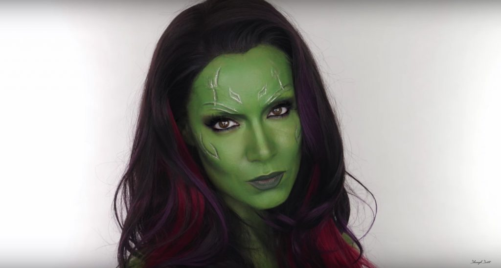 Guardians of the Galaxy Gamora face paint tutorial by Shonagh Scott
