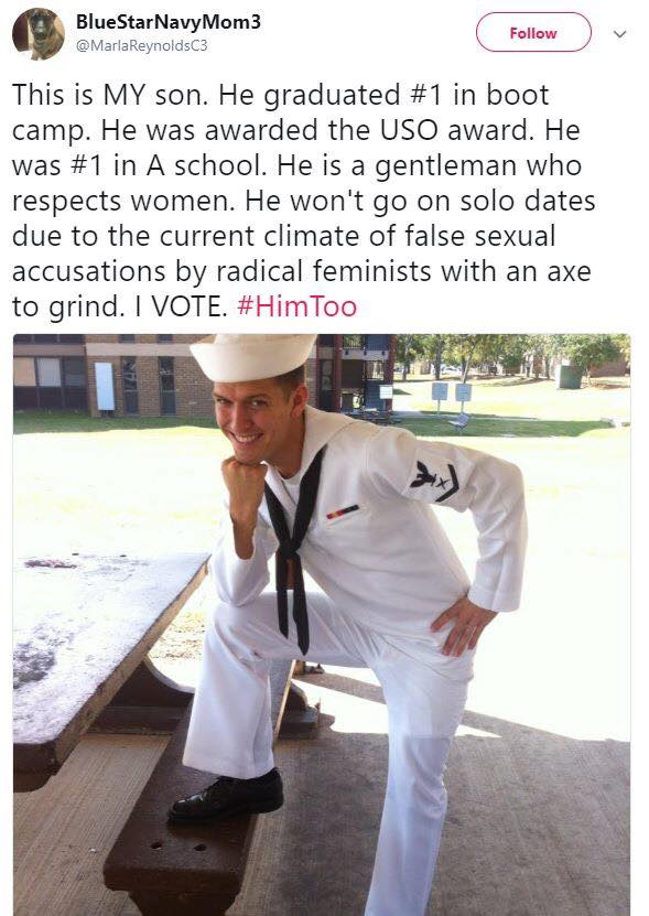 Viral #himtoo/#metoo tweet from the mom of a navy Vet -- and how the son turned it around for good