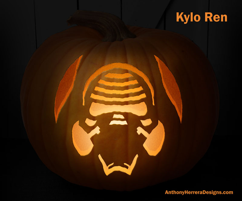 Kylo Ren and 12 other awesome Star Wars pumpkin carving templates from Anthony Herrera Designs