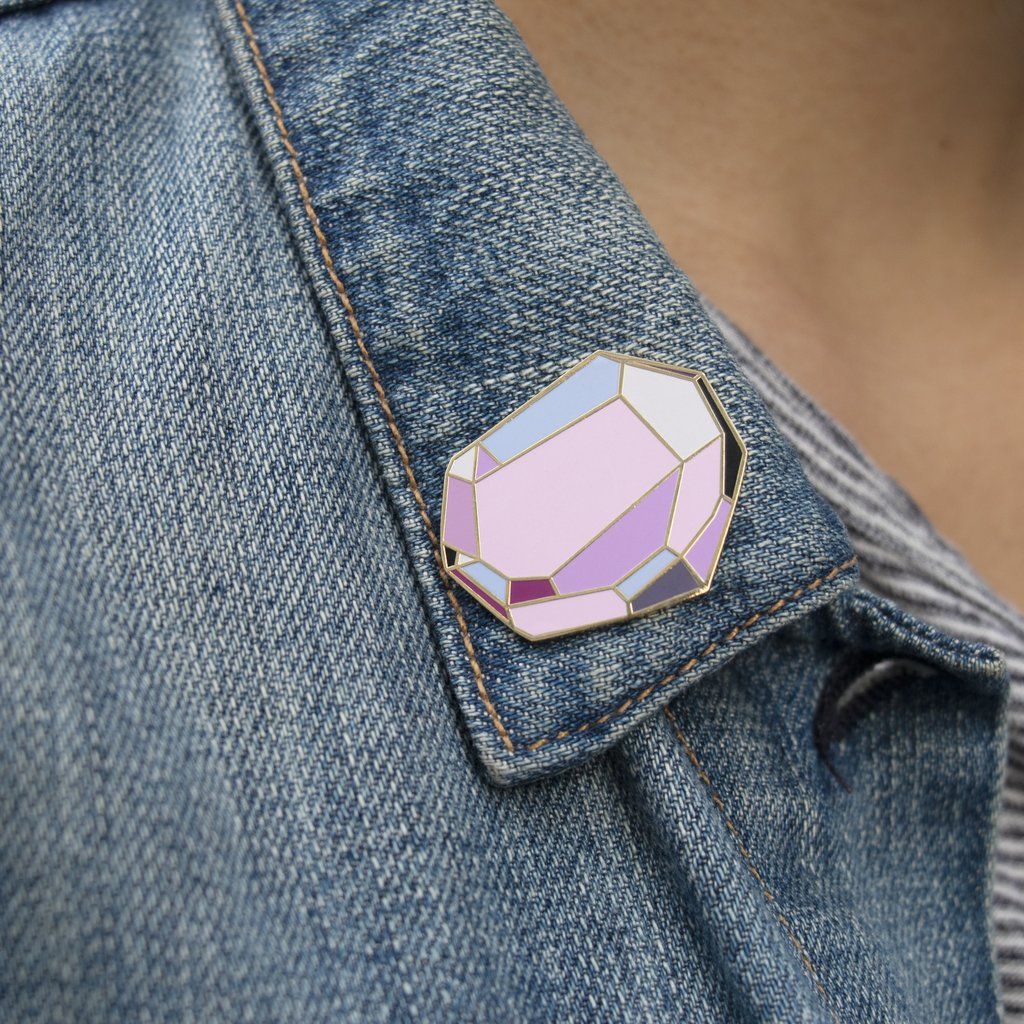 Emily McDowell's new fantasy stone pins offer healing and protection (through laughter) and this Persistethyst is the perfect feminist gift