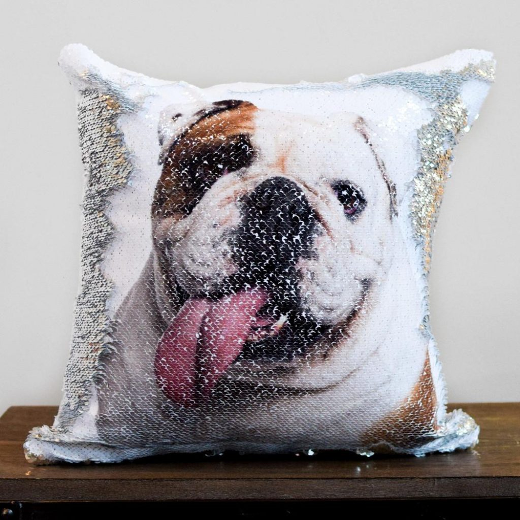 """Personalized flip sequin """"prank pillow"""" of people or pets from the Mermaid Pillow Co"""