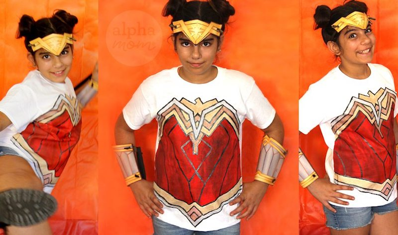 Pop culture Halloween costumes for kids: Wonder Woman at Alpha Mom