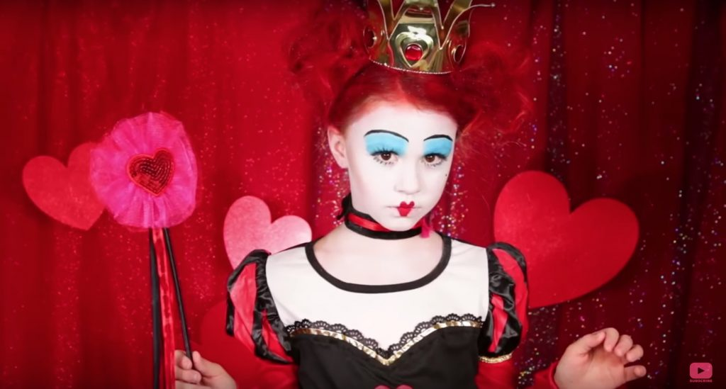Queen of Hearts from Tim Burton's Alice in Wonderland face paint video tutorial by The Daya Daily