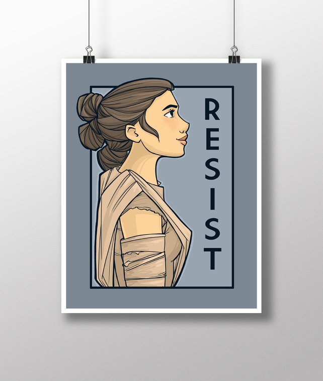 rey Resist poster by Karen Hallion on Etsy from her She Series of prints