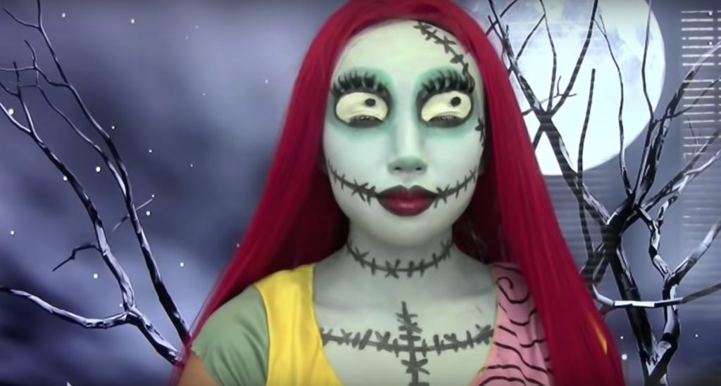 Sally from Nightmare Before Christmas face paint video tutorial by Dope 211