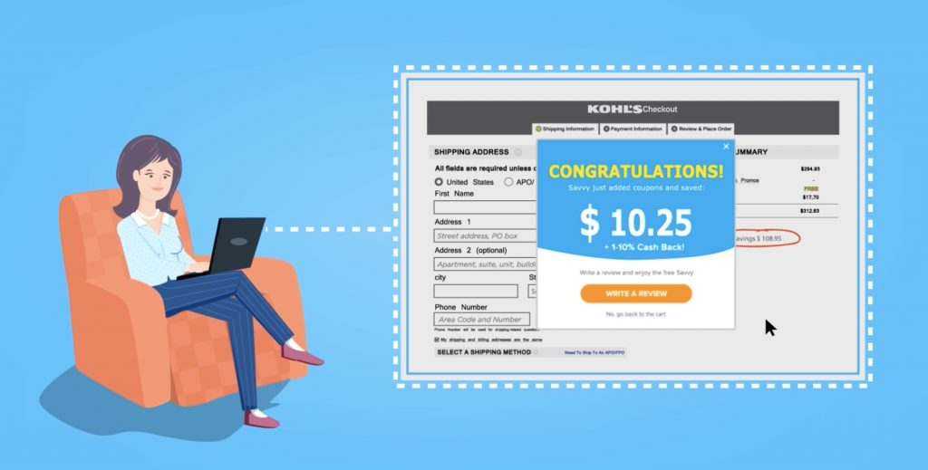 Savvy Browser extension automatically searches the web for the best online deals + cash back offers (sponsor)