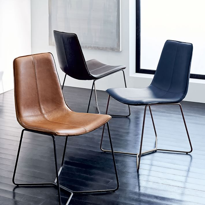 Slope leather dining chairs on sale at West Elm - gorgeous