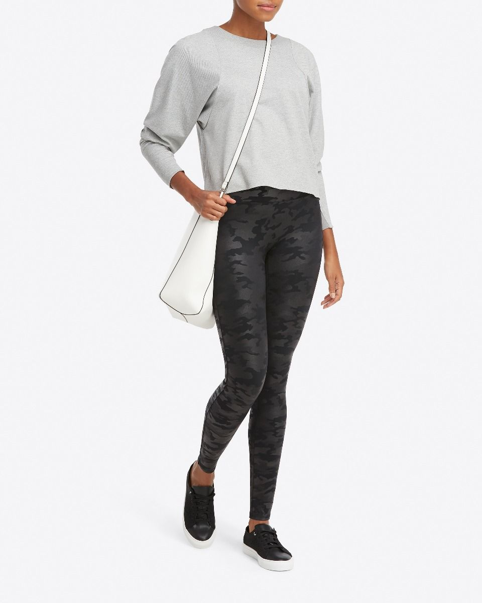 Spanx black camo faux leather leggings: Stylish + comfy which is just what we love