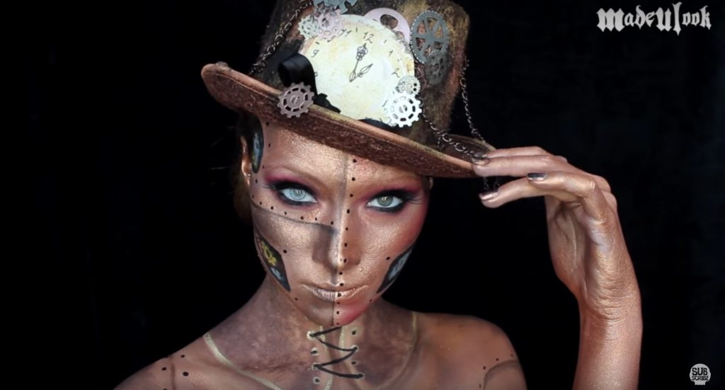 Steampunk face paint video tutorial by Madeyewlook