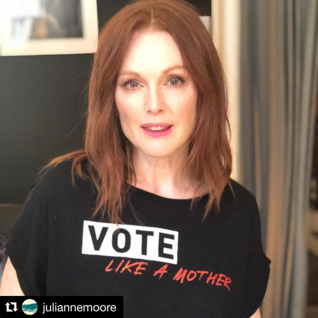 Vote Like a Mother tee worn by Julianne Moore : 100% of profits support mom-centered political orgs