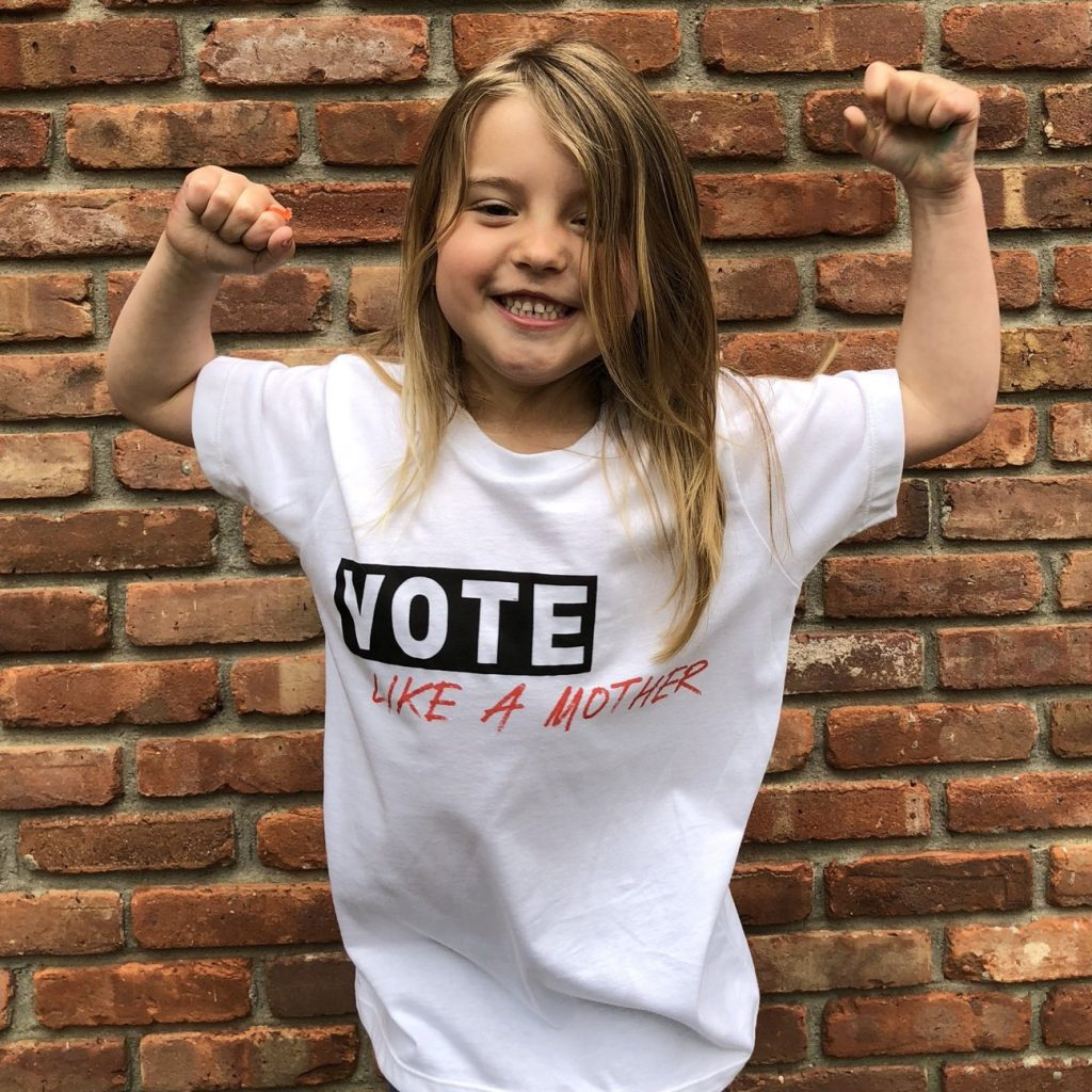 Vote Like a Mother tees for kids and adults - 100% of profits support mom-centered political non-profits