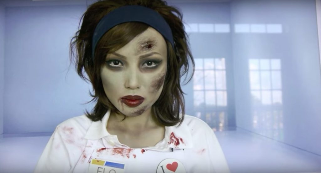 Zombie Flo (from the Progressive ads) face paint video tutorial by Dope 211