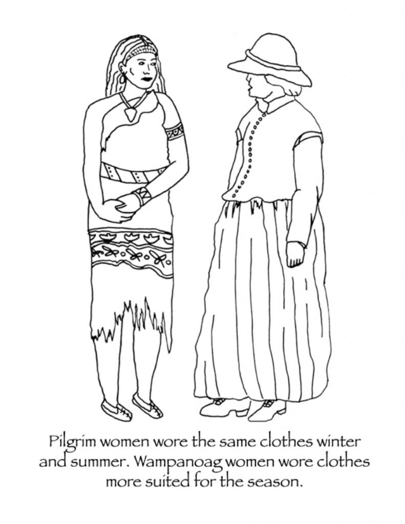 Historically accurate Thanksgiving pages: Wamonoag vs Pilgrim clothing