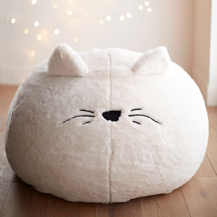 Cool gift ideas for tween girls: Cat bean bag on sale from Pottery Barn Kids