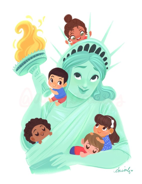 Meaningful gifts for kids: Children of America Liberty print by Asia Draws