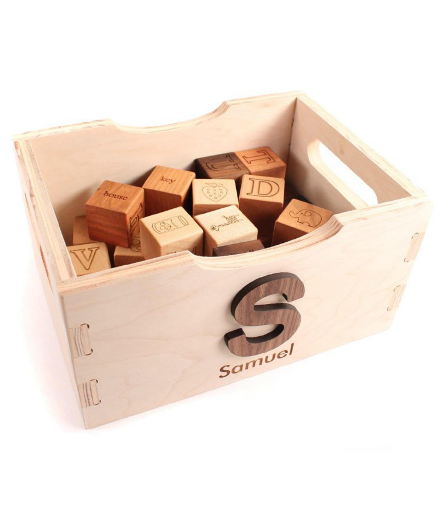 Personalized wooden toy crate at Smiling Tree Toys | The Coolest First Birthday Gifts