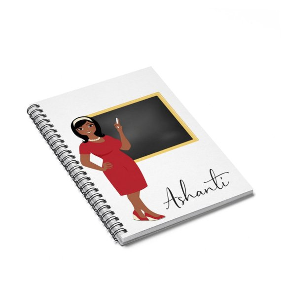 Creative personalized gifts: Black teacher custom notebook by From Keek with Love