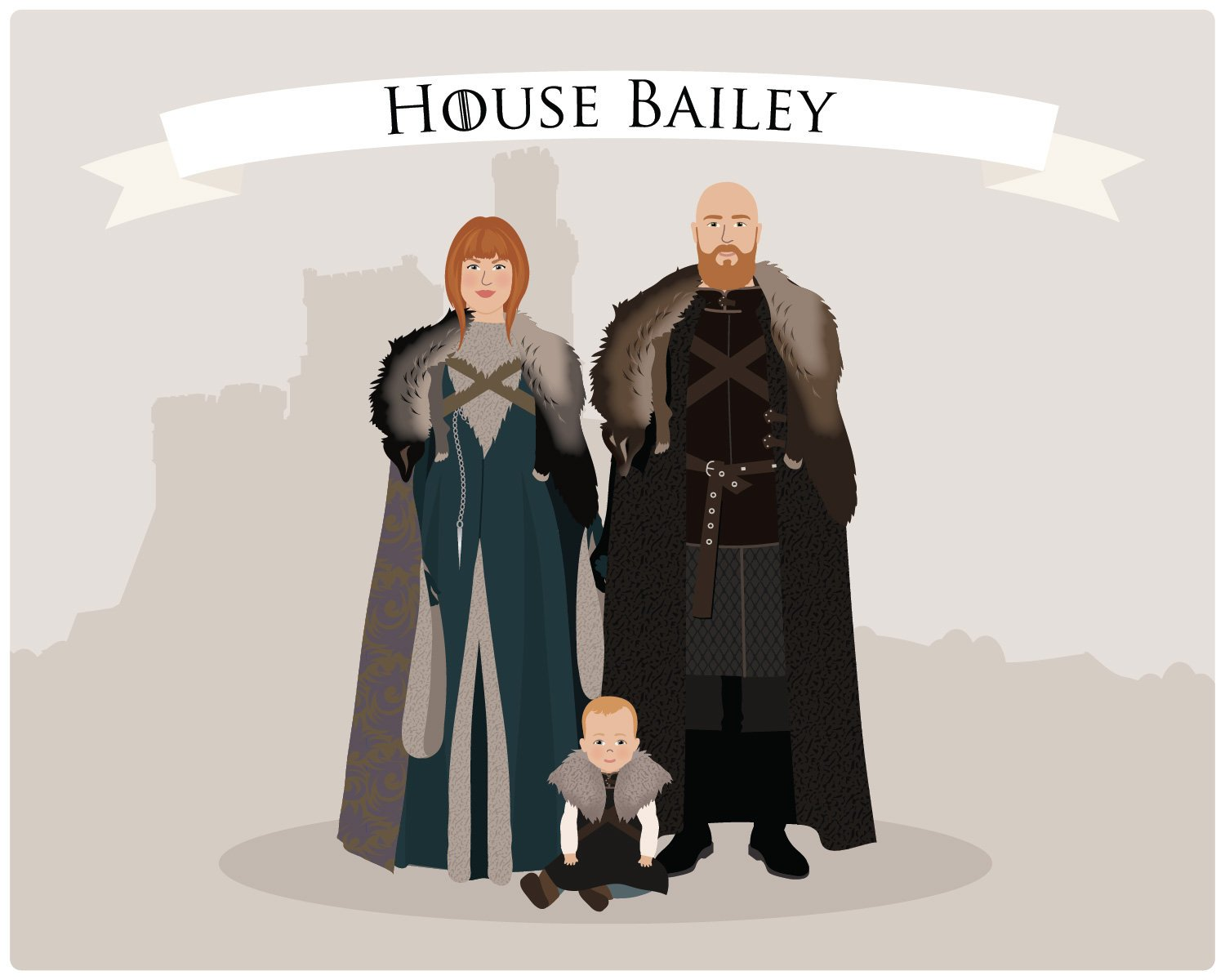 Creative personalized gifts: custom Game of Thrones family portrait from Henry James Paper Goods