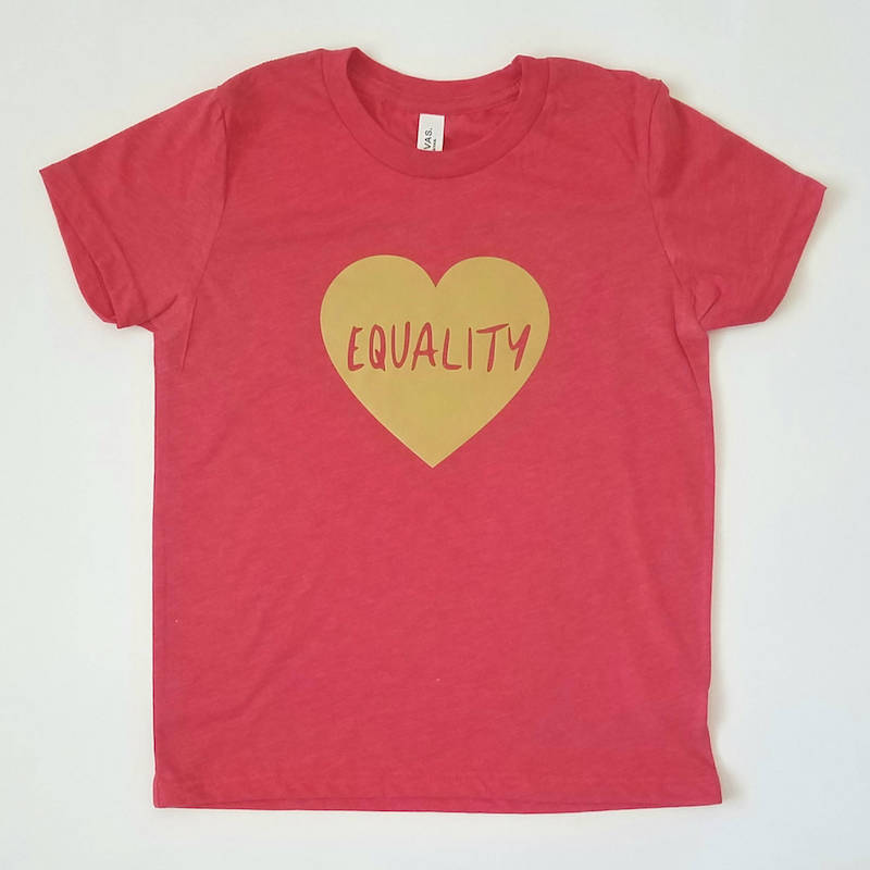 Meaningful gifts for kids: Equality shirt from Brave New World Designs supporting non-profits